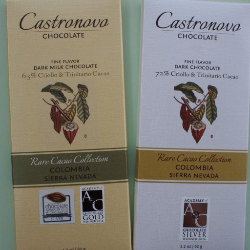 Castronovo Colombia Sierra Nevada Dark Milk 63% and Dark 72%