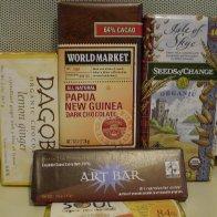 Various natural food store choc bars