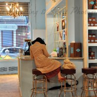 Woman at Chocolate cafe