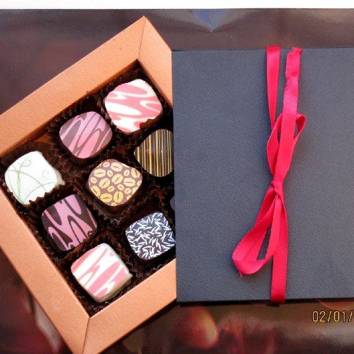 Chocolates in a t box