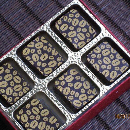Coffee truffles in a t box