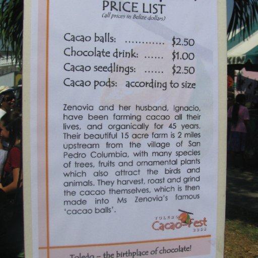 Ms Zenobia's Menu and Price List
