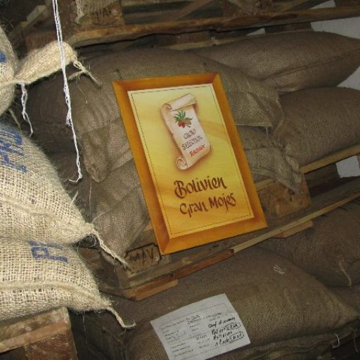 Bags of beans waiting to be processed