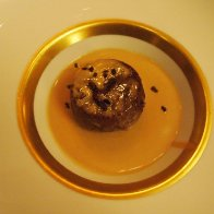 Caramelized Cuban-style bread pudding with Claudio Corallo's chocolate